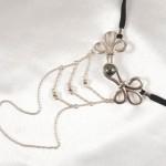 Brandebourg Knot Silver G-String with Hematite Stone