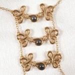 Brandebourgs Knot Hematite Pearl Nipple Necklace