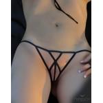 Cross Straps Open Brief Black Panties