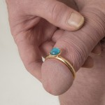 Gem Stone 18k Gold Penis Ring