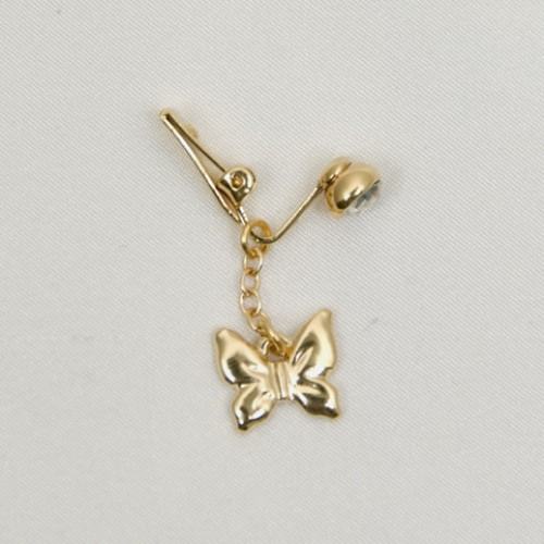 Gold Butterfly Clip On Belly Button Rings