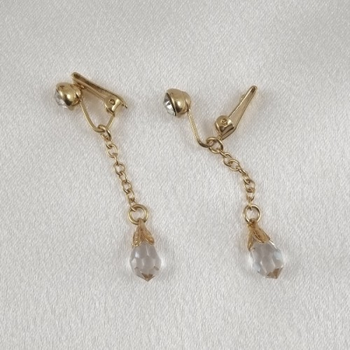 Gold Non Piercing Labia Jewelry Clips with Crystal Pendants