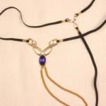 Gold Serpent Clitoris G-String with Blue Gem