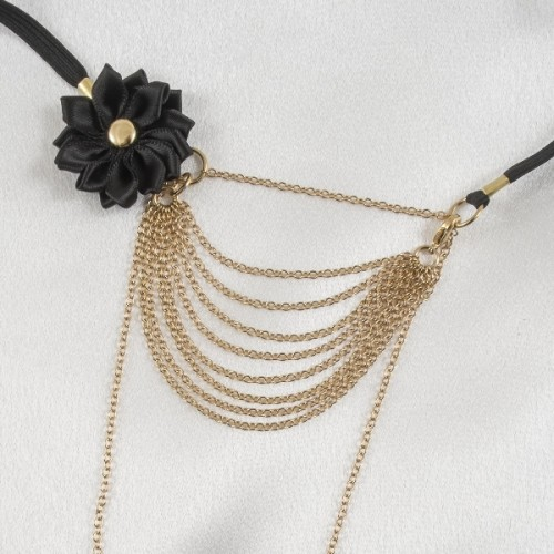 Gold Strings Of Love G-String with Black Satin Flower & Drape Chains