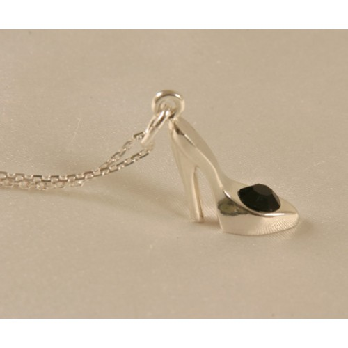 High Heel Jeweled Silver Charm Necklace