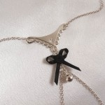 Lace Satin Bow Nipple Necklace