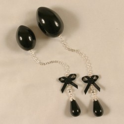 Penetrating Anal Egg Jewelry With Black Pendant for Her