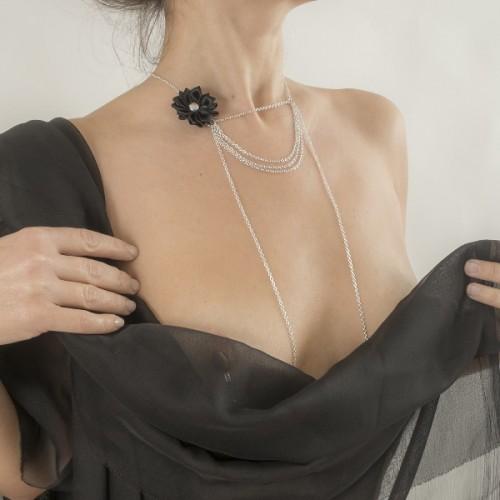 Silver Strings of Love Drape Chain Black Flower Nipple Necklace
