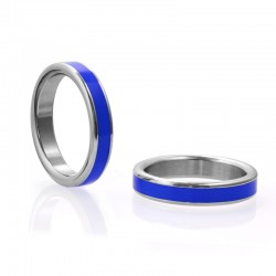 Stainless Steel Cock Ring with Blue Band