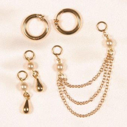 White Pearls & Gold Hoop Non Piercing Labia Jewelry Ring Set