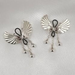 Wings of Desire Sterling Silver Non-Piercing Nipple Rings