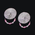 Bijoux de Nip Round Silver Crystal Pasties w/ Beaded Hoops