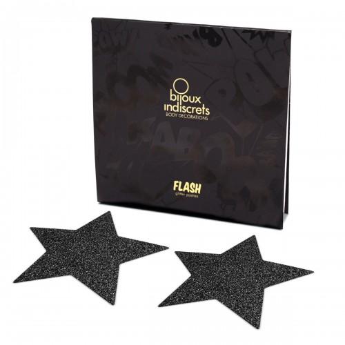 Flash Glitter Pasties - Star Black