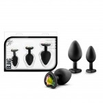 Luxe Bling Plugs Training Kit - Black Hearts With Rainbow Crystals