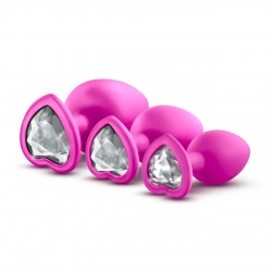 Luxe Bling Plugs Training Kit - Pink Hearts With Clear White Crystals