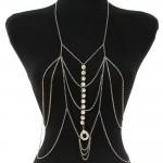 Rhinestone Silver Necklace Body Chain Jewelry