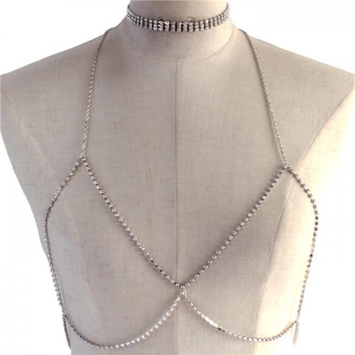 Silver 3 Strand Rhinestone Choker Necklace Open Bra Body Chain Jewelry