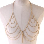 Gold Draped Bra Body Chain Jewelry With Tassel