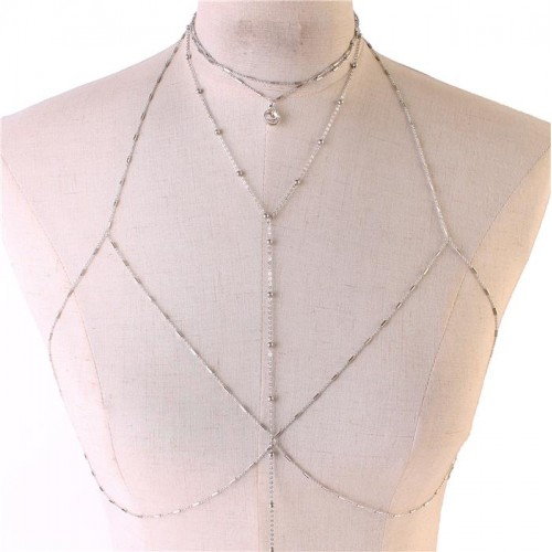 Silver Stones Layered Choker Necklace Bra Body Chain Jewelry