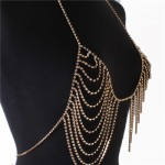 Gold Rhinestone Drop Bra Body Chain Jewelry