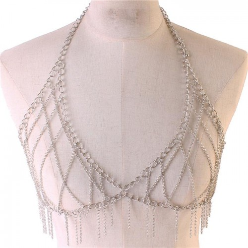 Silver Link Chain Fringe Bra Body Chain Jewelry