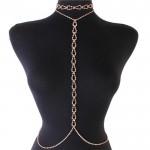 Gold Rhinestone Tear Choker Necklace Waist Chain Jewelry