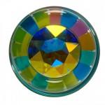 Funfetti GlassAnal Plug with Aurora Borealis Crystal Base
