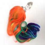 Rainbow Unicorn Pony Tail Clear Glass Anal Plug
