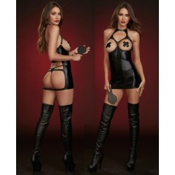 Faux Leather Boob-Out Chemise Fetish Play Set