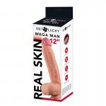 "Get Lucky Mega Man 12"" Dual Density Real Skin Dildo"