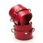Bondage Basics Leather Wrist Cuffs Red