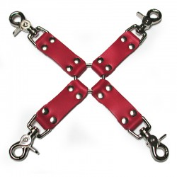 Bondage BasicsLeather Red Hog Tie Straps