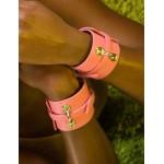 Pink Bound Leather Wrist Cuffs