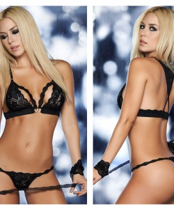 8218 Four Piece Bra Set Color Black