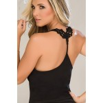 7095 Two Piece Short Sleepwear Set Color Black