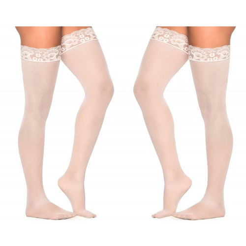 1094 Mesh Thigh Highs Color White