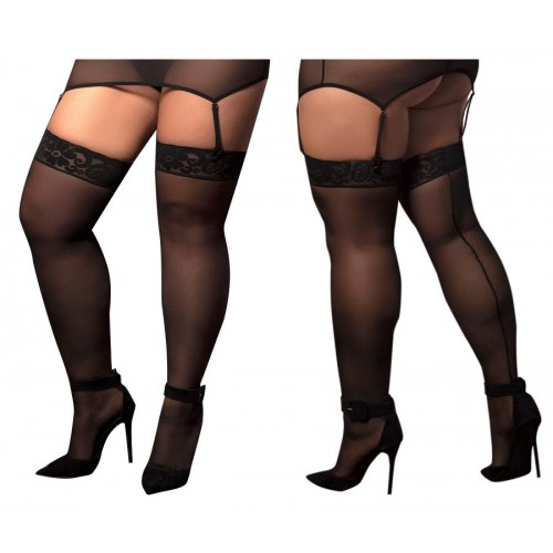 1094X Mesh Thigh Highs Color Black