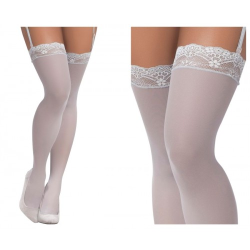 1097 Mesh Thigh High Stockings Color Shoreline Gray