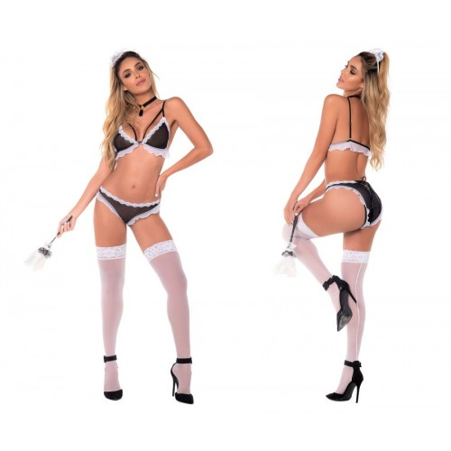 6390 French Maid Costume Outfit Color Multi-colored