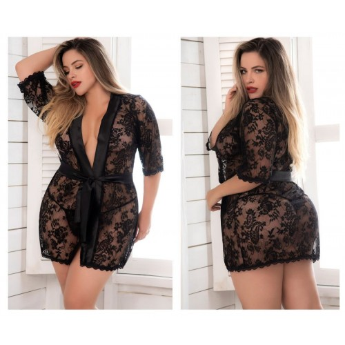 7115X Lace Robe with Matching G-String Color Black
