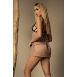 7298 Babydoll with Matching G-String Color Nude-Black