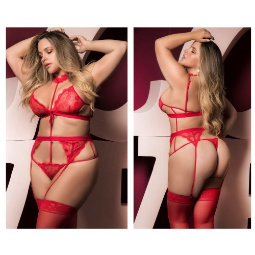 8277X Teddy with Garters Color Red