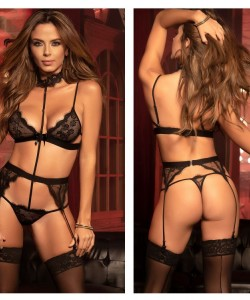 8277 Teddy with Garters Color Black