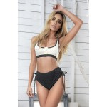 8407 Two Piece Set Color Gray-Ivory