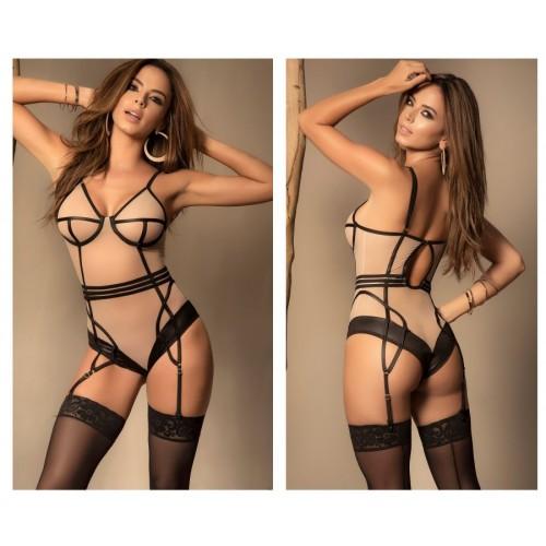 8426 Bodysuit With Garter Straps Color Nude-Black