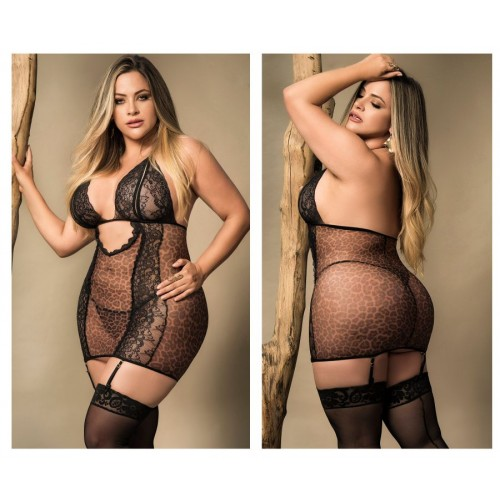 8430X Babydoll with Garter Straps and Matching G-String Color Animal Print
