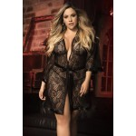 8443X Robe with Matching G-String Color Black