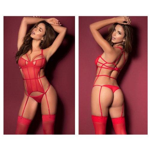 8454 Teddy with Garters Color Red