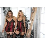 Holiday Plaid Plus Size Babydoll with Garter Straps and Matching G-String