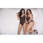 8475 Sheer Lace Bodysuit Color Black